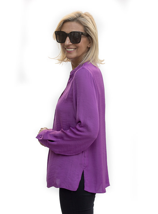Berry Stand Collar Long Sleeve Blouse