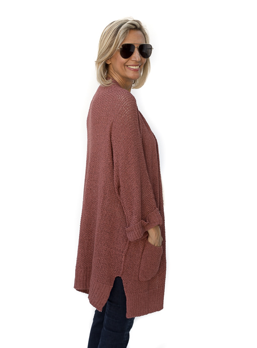 Nutmeg Open Front Cardigan With Pockets