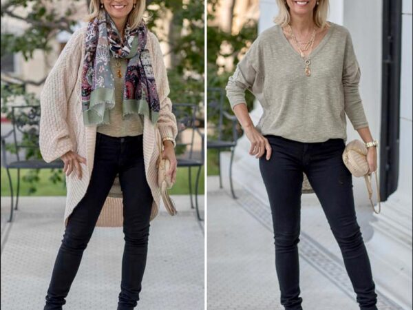 A-Cozy-Comfy-Yet-Chic-Look-For-Fall-wearing-an-Oatmeal-Cable-Knit-Coocoon-Cardigan-featured