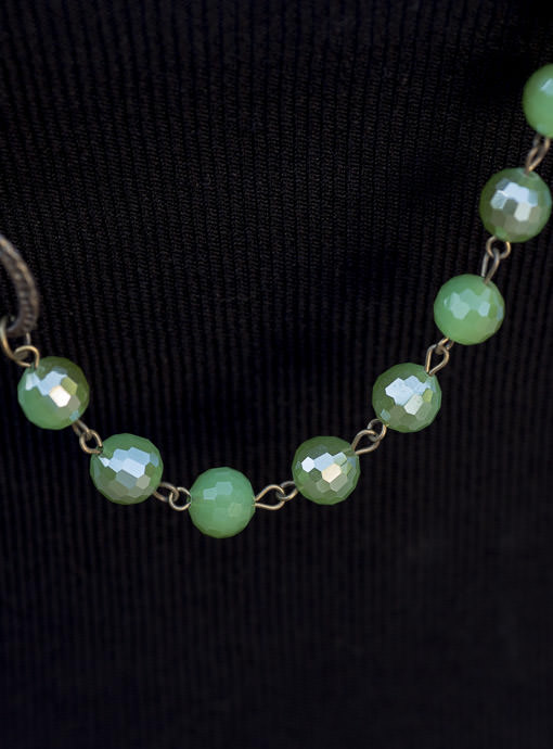 Antique Brass And Green Bead And Stone Necklace