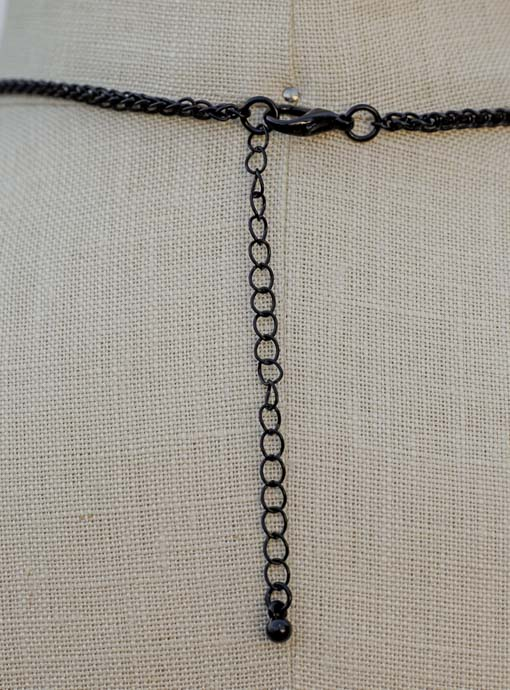 Black Chain Necklace With Black And Gold Clover Pendant