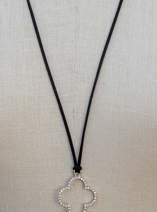 Black Leather String Necklace With Rhinestone Clover