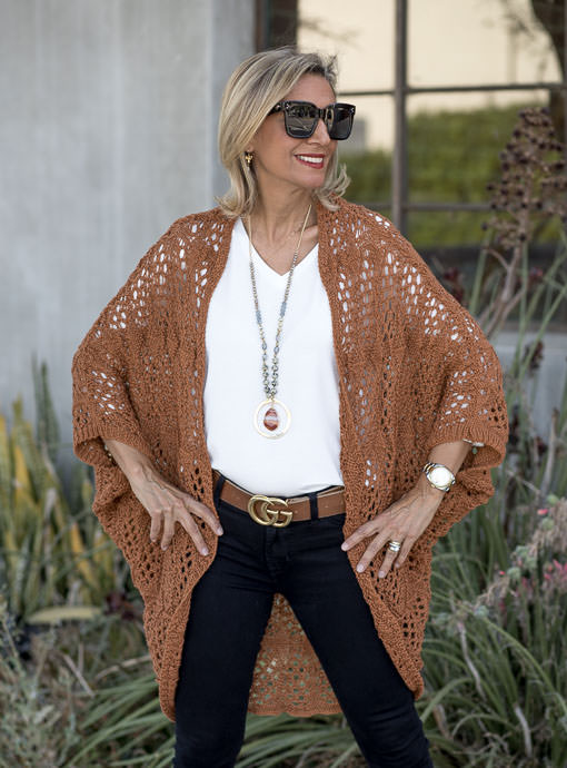Cinnamon Crochet Knit Cardigan