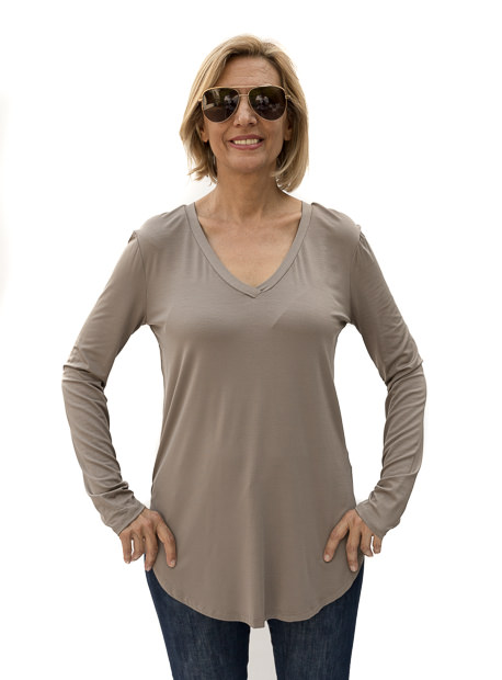 Cocoa V Neck Long Sleeve Top