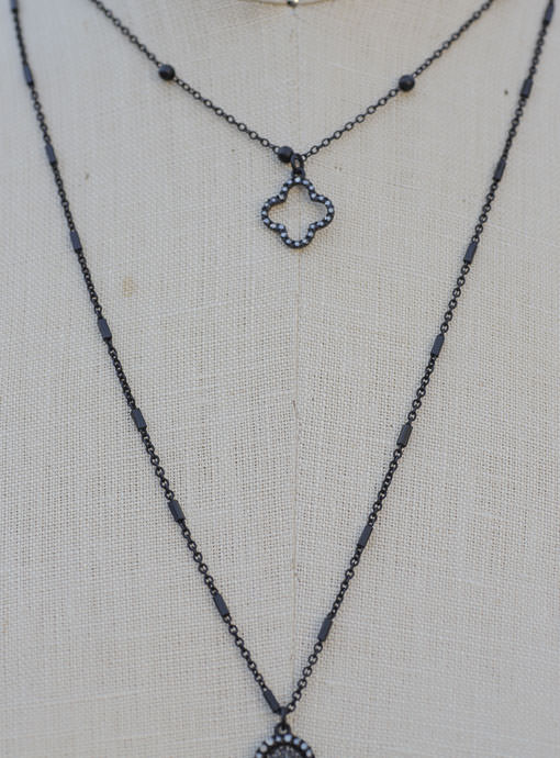 Double Layer Black Chain Clover Necklace