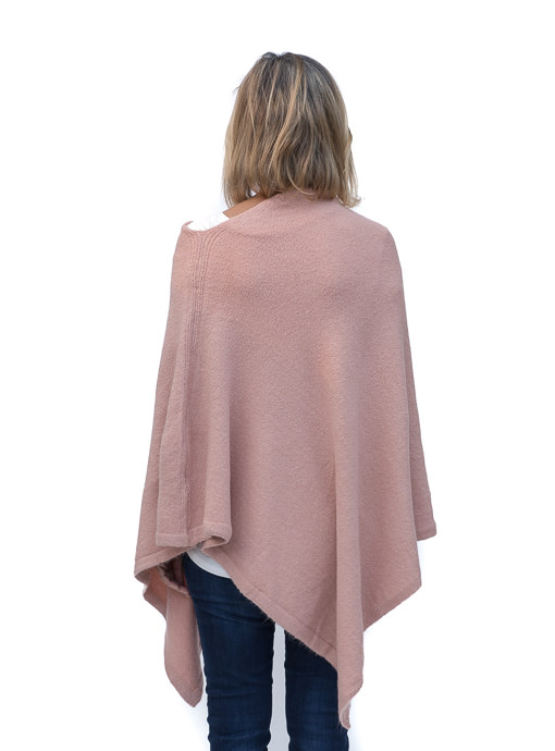 Dusty Rose Cashmere Blend Textured Pull On Poncho