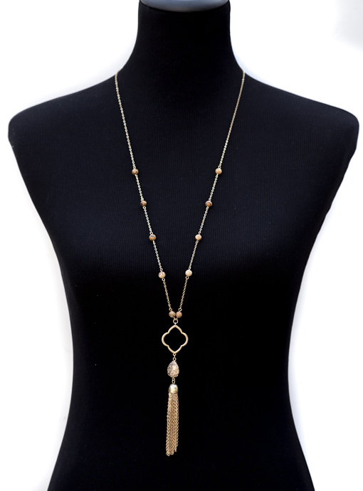 Gold Chain And Clover Necklace With Tan Beads And Fringe