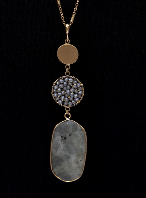 Gold Chain Necklace With Gray Beads And Pendant