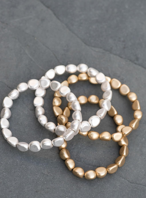 Matte Gold And Silver Four Piece Bracelet Set