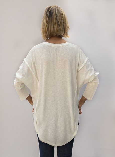Off White Textured And Solid Mix Knit Top