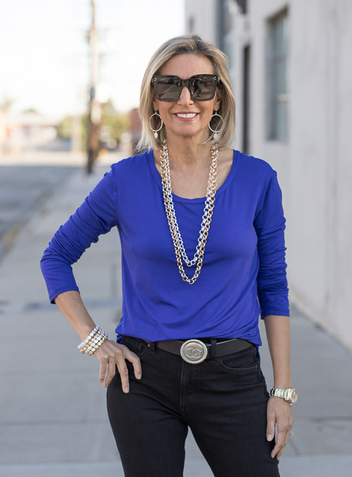 Royal Blue Round Neck Long Sleeve Top