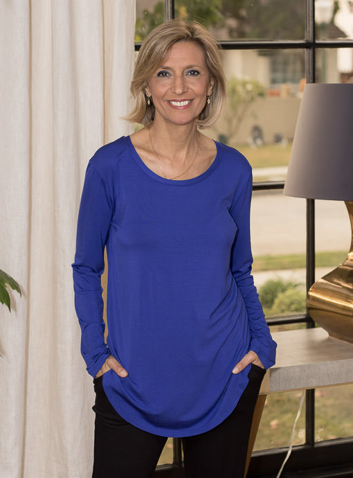 Royal Blue Round Neck Long Sleeve T Shirt