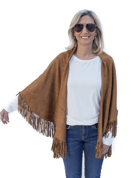 Saddle Faux Suede Cape Vest With Fringe