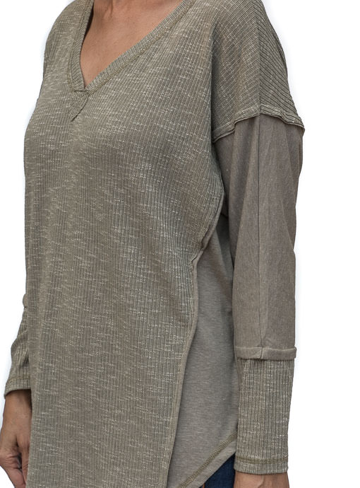 Sage Textured And Solid Mix Knit Top