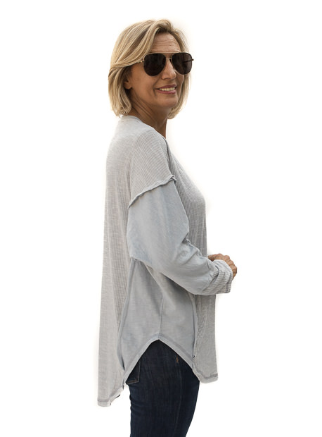 Slate Blue Textured And Solid Mix Knit Top