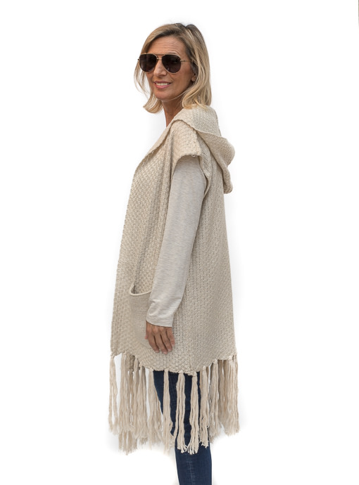 Tan Long Hooded Sweater Vest With Fringe