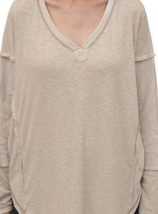 Tan Textured And Solid Mix Knit Top