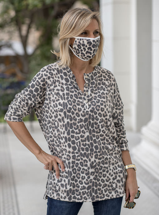 Taupe Brown Knit Leopard Print Face Mask