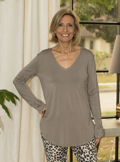 Cocoa V Neck Long Sleeve T Shirt