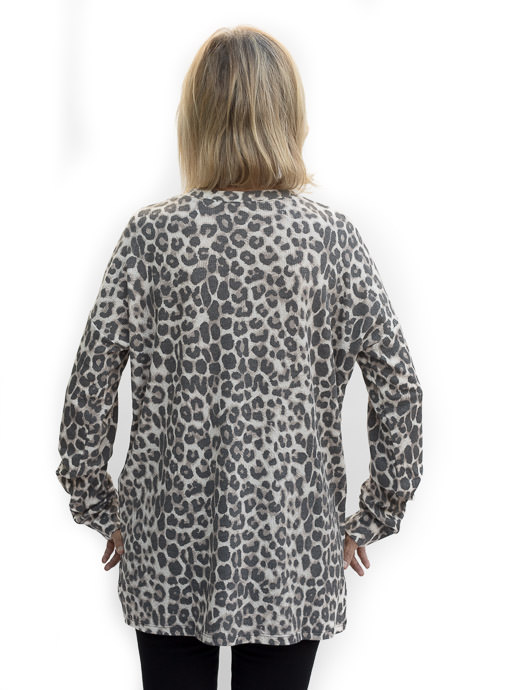 Taupe Brown Leopard Print Henley Knit Top