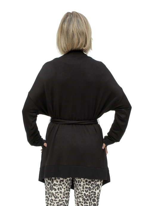 Black Rayon Robe Cardigan With A Belt