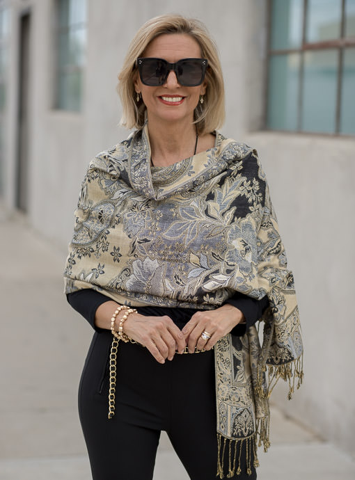 Black Tan Tapestry Jacquard Scarf Shawl Wrap