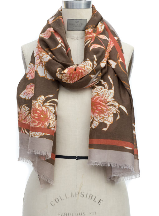 Brown Rust Taupe Floral Print Scarf Shawl