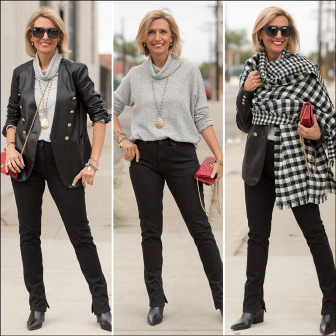 Plaids and faux leather for fall outfits for women
