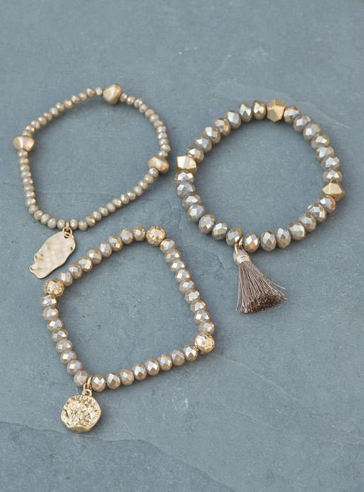 Champagne And Gold  Three Piece Bracelet Set