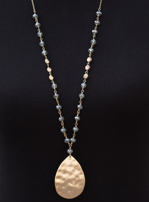 Gold Chain And Gunmetal Beads Necklace With Gold Pendant