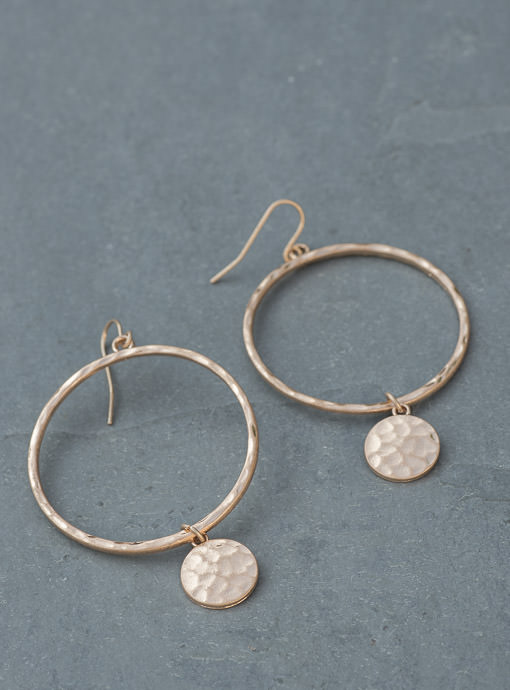 Gold Hammered Metal Ring And Charm Earrings
