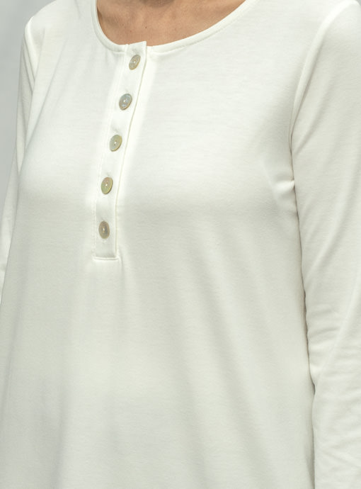 Ivory Long Sleeve Henley Knit Top