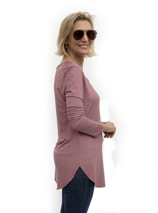 Mauve Round Neck Long Sleeve Top