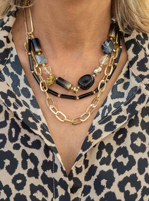 Black And Gold Multi Layer Necklace