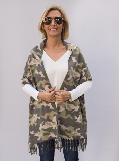 Olive Gray Taupe Camouflage Scarf Shawl Wrap