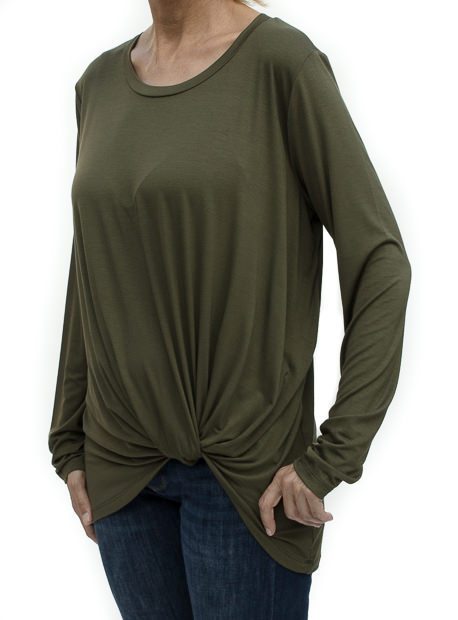 Olive Round Neck Side Twist Top