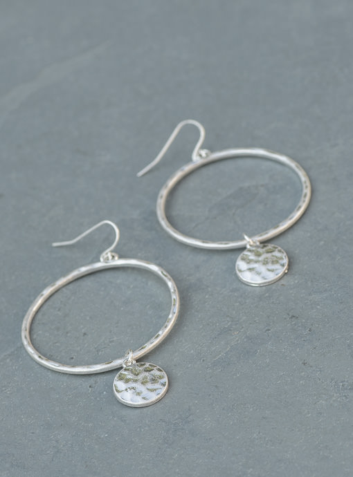 Silver Hammered Metal Ring And Charm Earrings