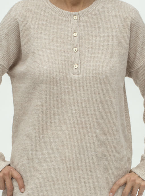 Tan Brushed Thermal Long Sleeve Henley Knit Top