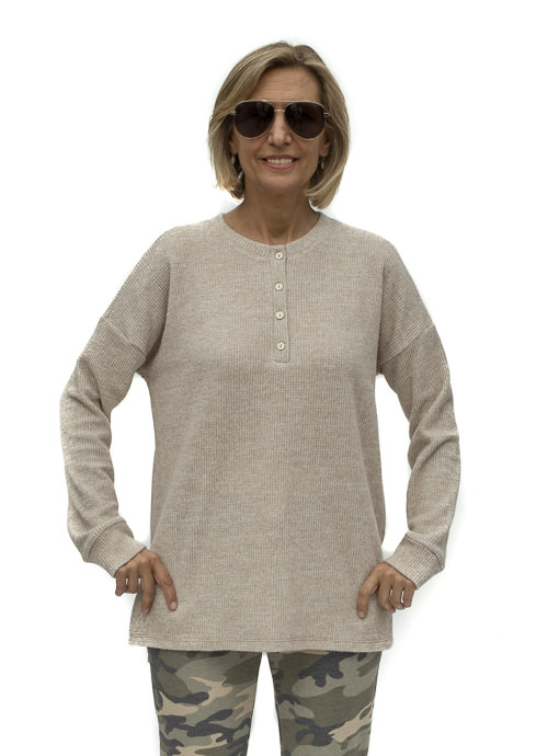 Tan Brushed Long Sleeve Henley Knit Top