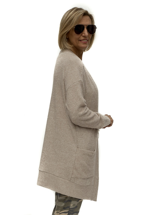Tan Brushed Long Sleeve Knit Cardigan