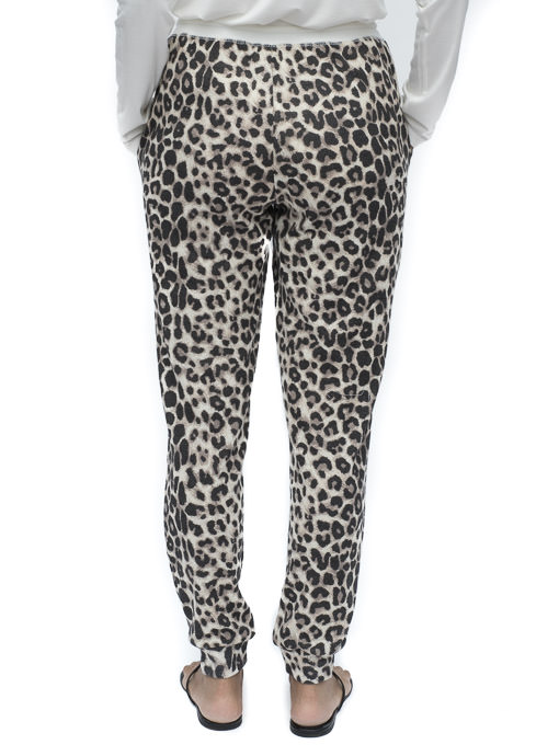 Taupe Brown Leopard Print Knit Jogger Pants