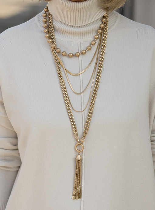 Gold Tone Multi Layer Chain Necklace With Fringe