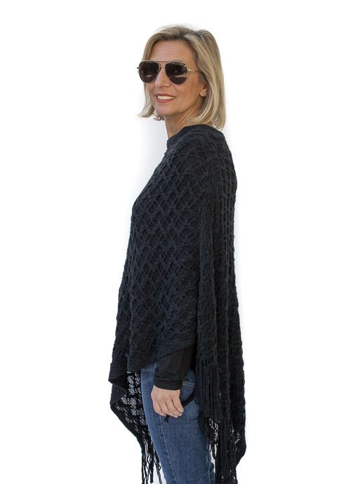 Black Crochet Knit Pull On Poncho With Fringe