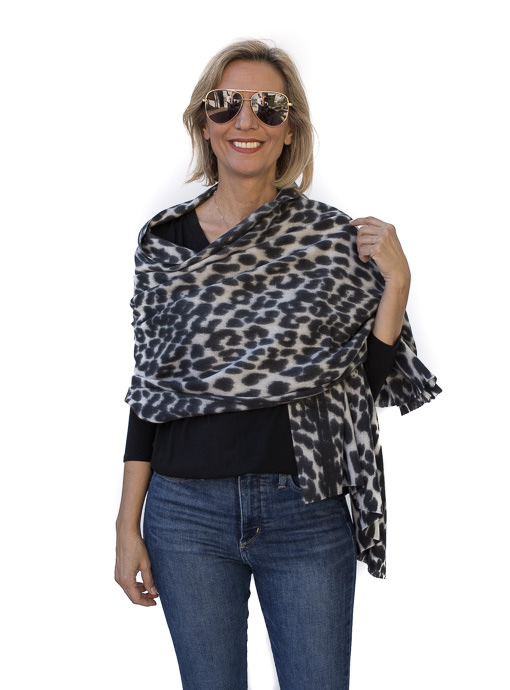 Black Gray Brushed Leopard Print Scarf Shawl
