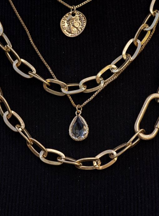 Gold Tone Multi Layer Chain Necklace With Charms