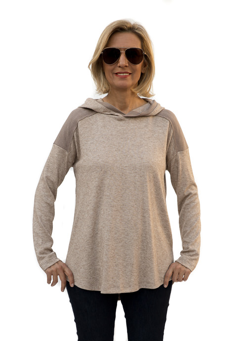 Heather Taupe Textured And Solid Knit Hooded Top