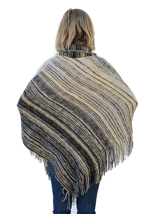 Multi Color Stripe Knit Poncho With Fringe