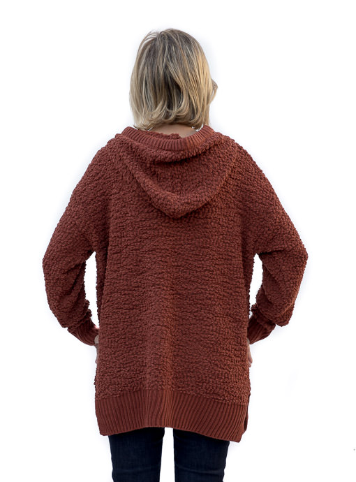 Rust Hooded Popcorn Sweater
