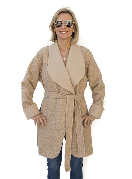 Tan Boucle Solid Combo Reversible Belted Coat