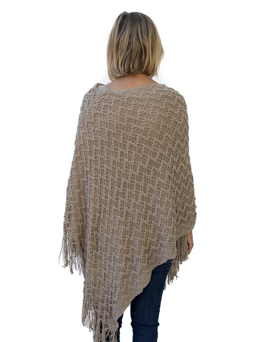 Taupe Crochet Knit Pull On Poncho With Fringe